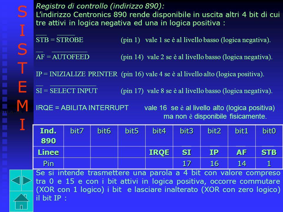 S I T E M Registro di controllo (indirizzo 890):