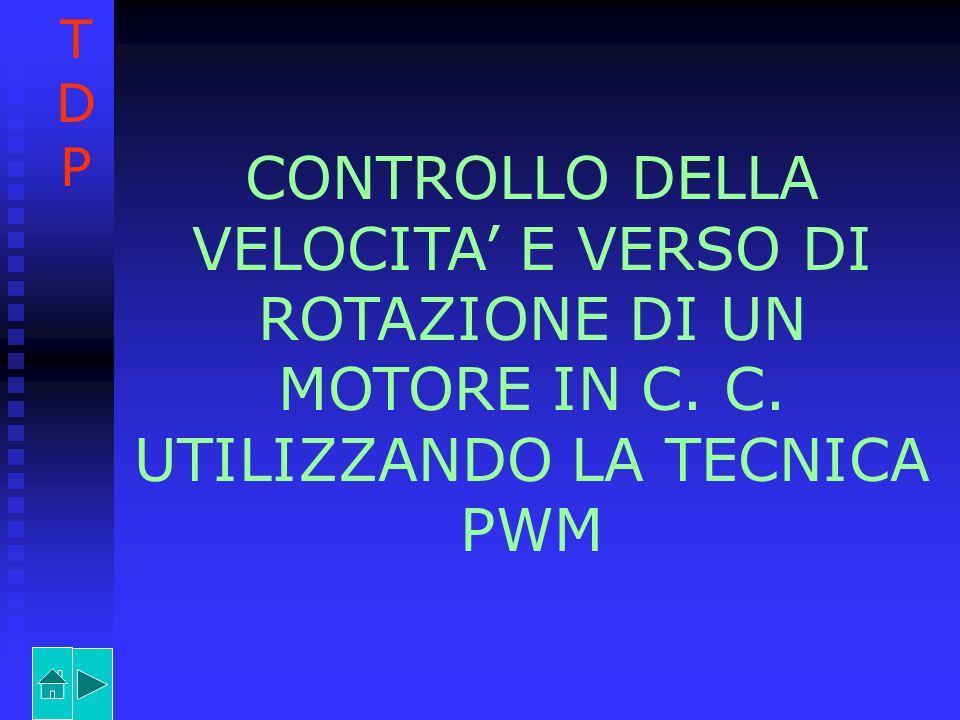 T D. P. CONTROLLO DELLA VELOCITA' E VERSO DI ROTAZIONE DI UN MOTORE IN C.