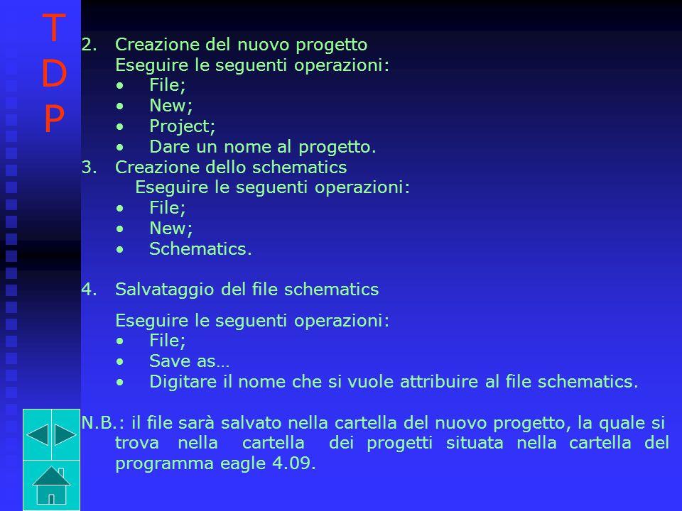 T D P Creazione del nuovo progetto Eseguire le seguenti operazioni: