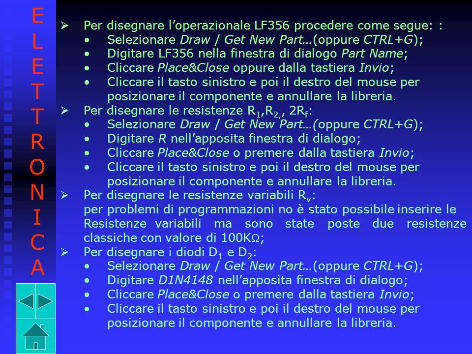 E L. T. R. O. N. I. C. A. Per disegnare l'operazionale LF356 procedere come segue: : Selezionare Draw / Get New Part…(oppure CTRL+G);