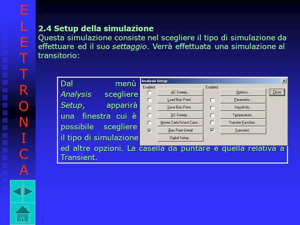 E L T R O N I C A 2.4 Setup della simulazione