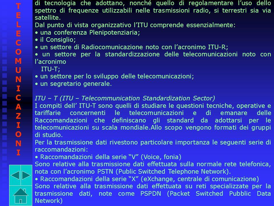 di tecnologia che adottano, nonché quello di regolamentare l'uso dello spettro di frequenze utilizzabili nelle trasmissioni radio, si terrestri sia via satellite.