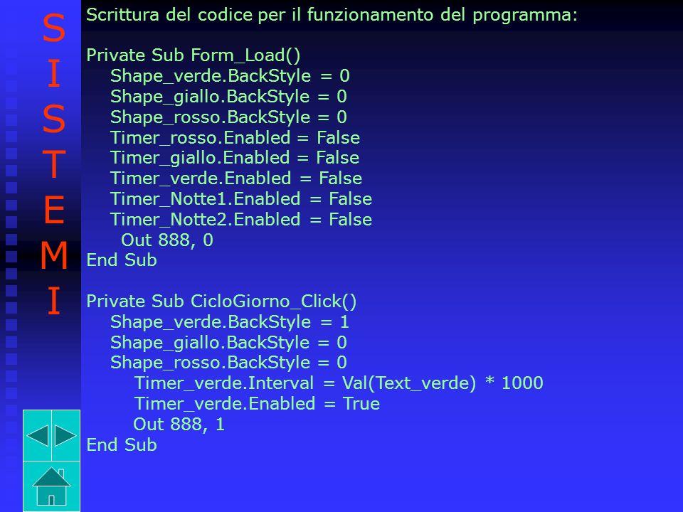 S I T E M Scrittura del codice per il funzionamento del programma: