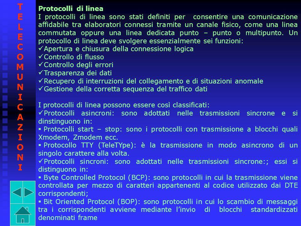 TELECOMUNICAZIONI Protocolli di linea