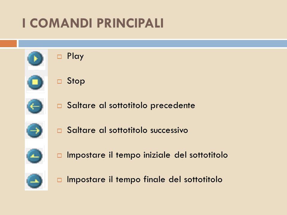 I COMANDI PRINCIPALI Play Stop Saltare al sottotitolo precedente