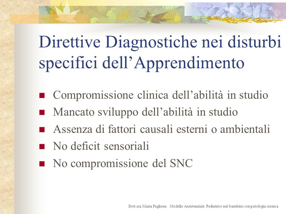 Direttive Diagnostiche nei disturbi specifici dell'Apprendimento
