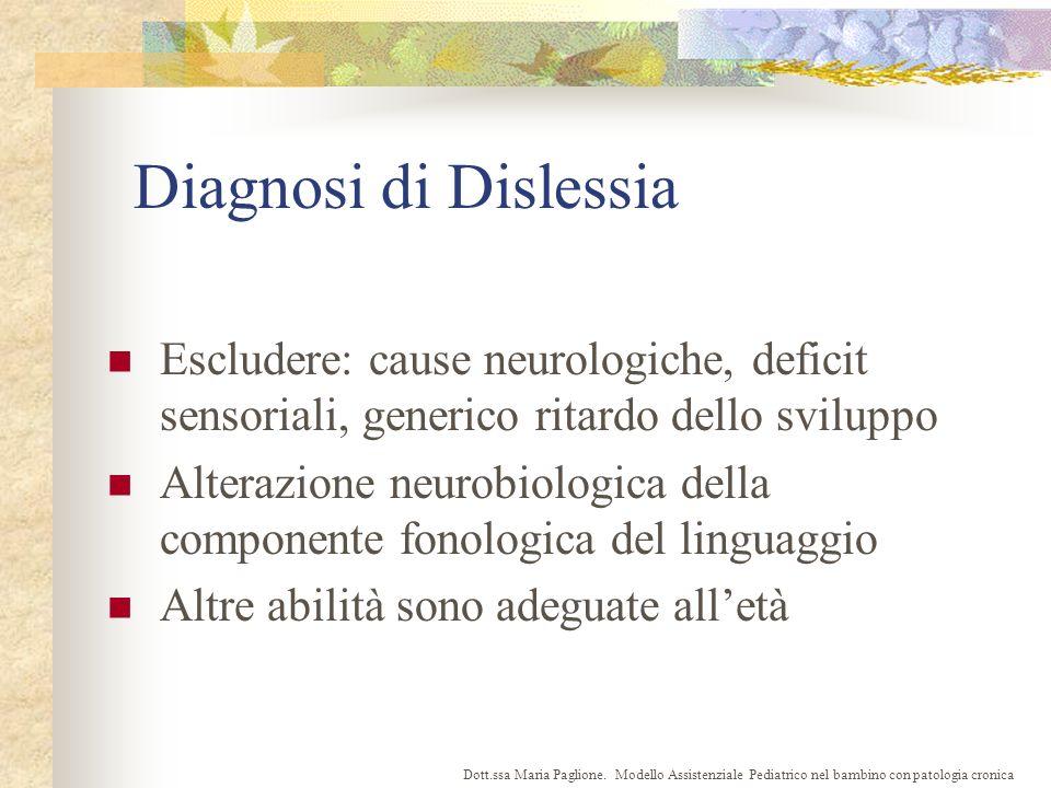 Diagnosi di Dislessia Escludere: cause neurologiche, deficit sensoriali, generico ritardo dello sviluppo.