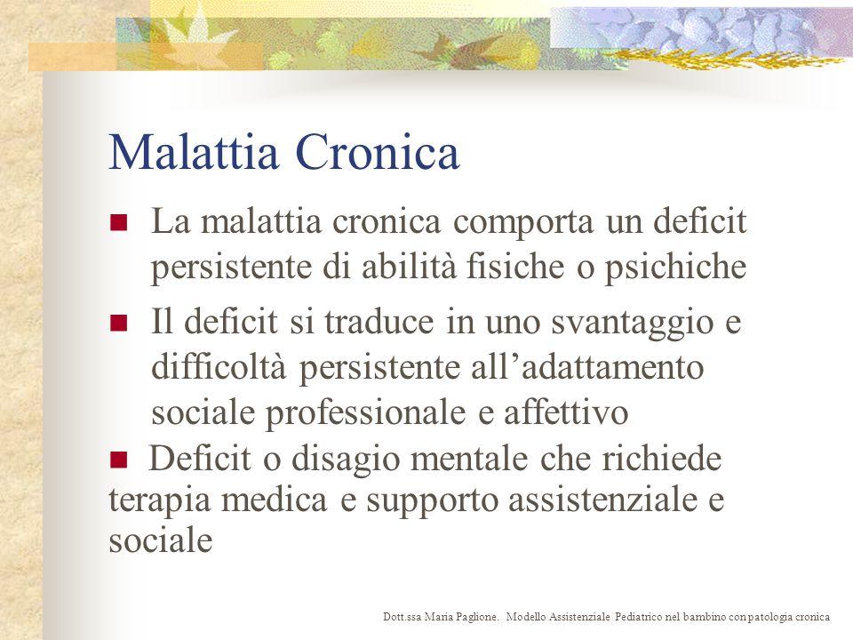 Malattia Cronica La malattia cronica comporta un deficit persistente di abilità fisiche o psichiche.