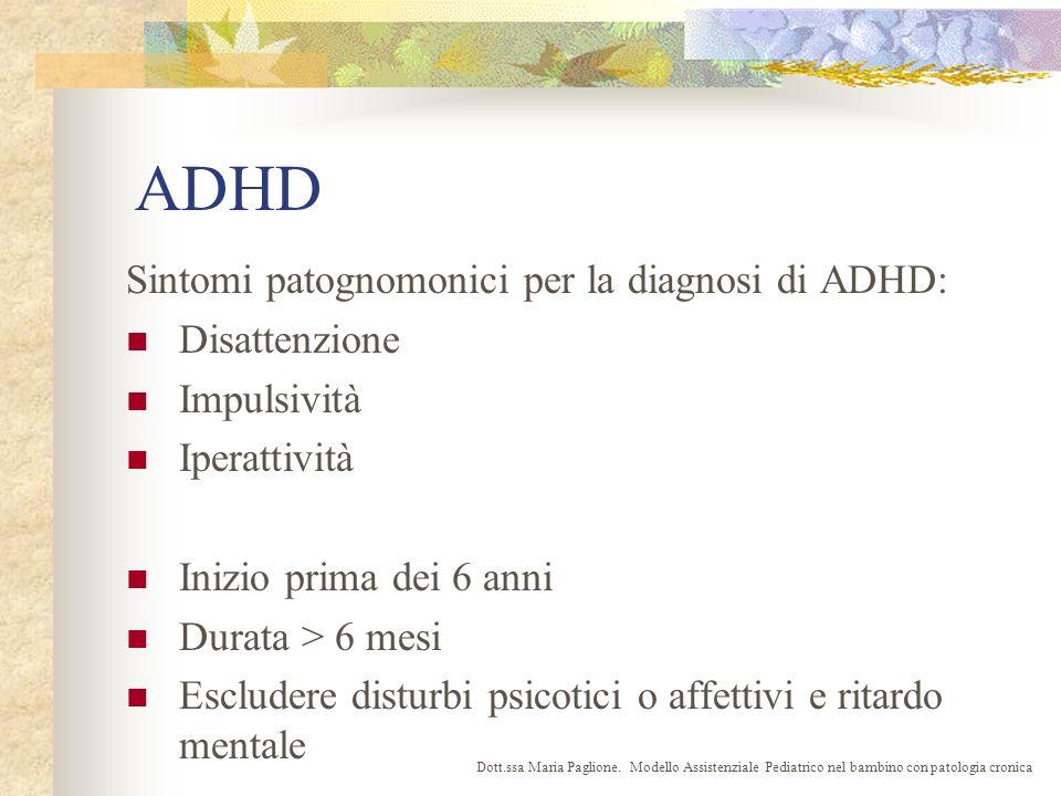 ADHD Sintomi patognomonici per la diagnosi di ADHD: Disattenzione