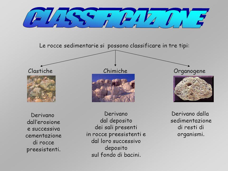 CLASSIFICAZIONE Le rocce sedimentarie si possono classificare in tre tipi: Clastiche. Chimiche. Organogene.