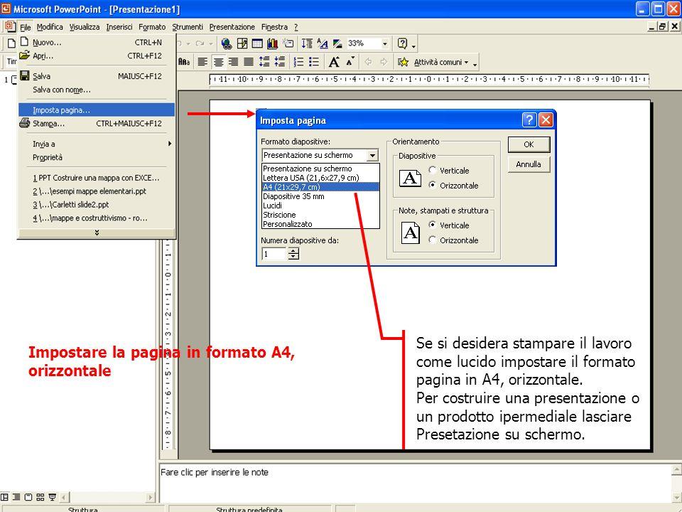 Se si desidera stampare il lavoro come lucido impostare il formato pagina in A4, orizzontale.