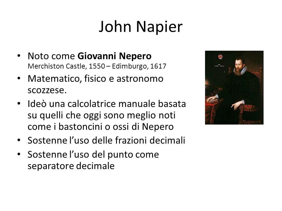 John Napier Noto come Giovanni Nepero Merchiston Castle, 1550 – Edimburgo, 1617. Matematico, fisico e astronomo scozzese.