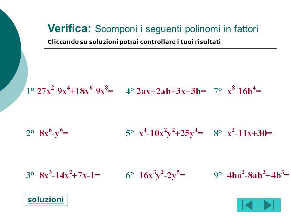 Verifica: Scomponi i seguenti polinomi in fattori