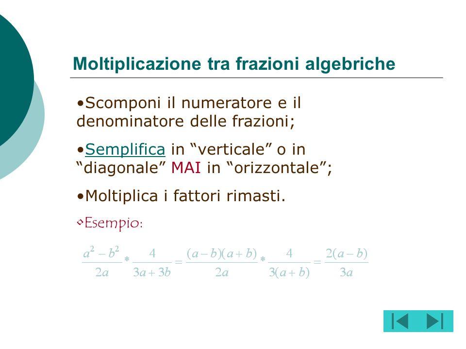 Moltiplicazione tra frazioni algebriche