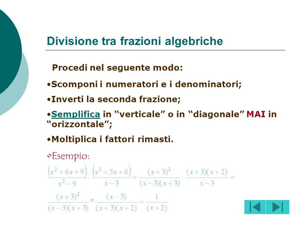Divisione tra frazioni algebriche