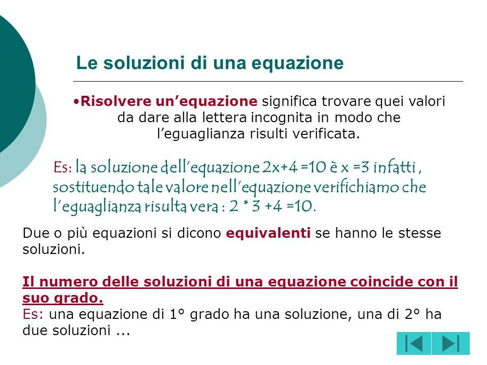 Le soluzioni di una equazione