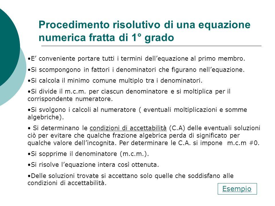Procedimento risolutivo di una equazione numerica fratta di 1° grado