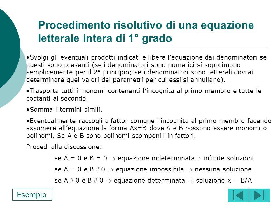 Procedimento risolutivo di una equazione letterale intera di 1° grado
