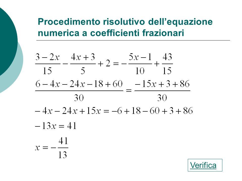 Procedimento risolutivo dell'equazione numerica a coefficienti frazionari