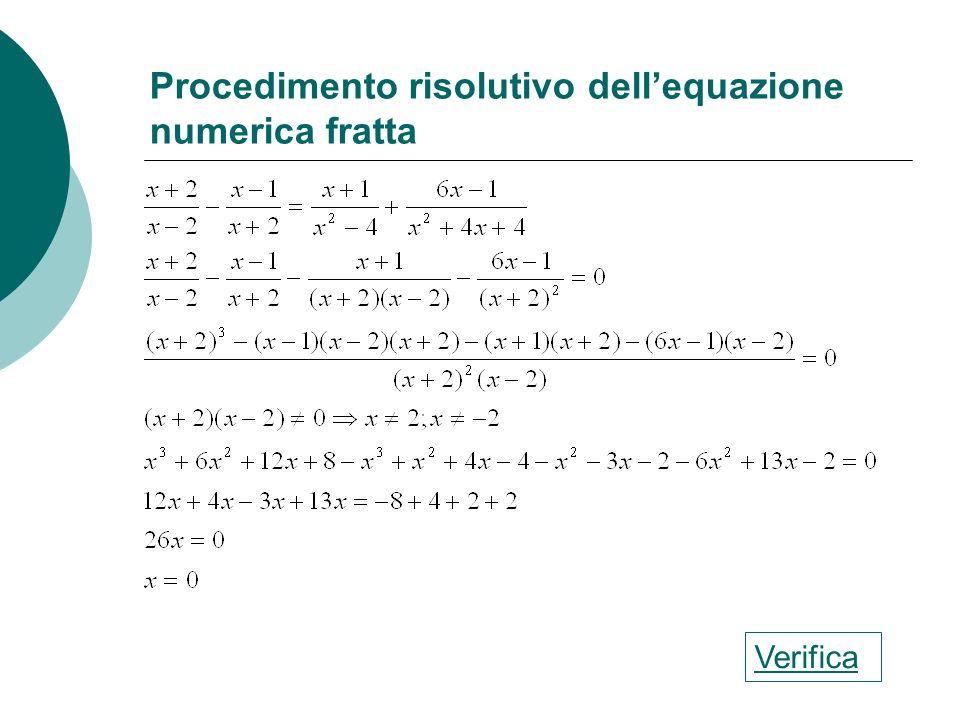 Procedimento risolutivo dell'equazione numerica fratta