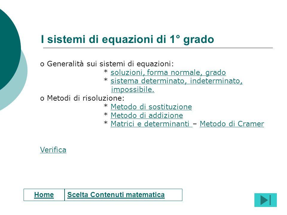 I sistemi di equazioni di 1° grado
