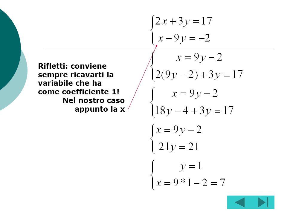 Rifletti: conviene sempre ricavarti la variabile che ha come coefficiente 1!