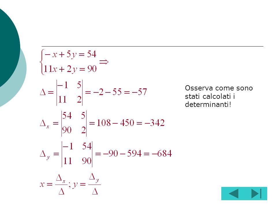 Osserva come sono stati calcolati i determinanti!