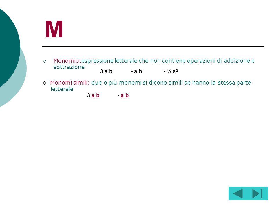 M Monomio:espressione letterale che non contiene operazioni di addizione e sottrazione. 3 a b. - a b.