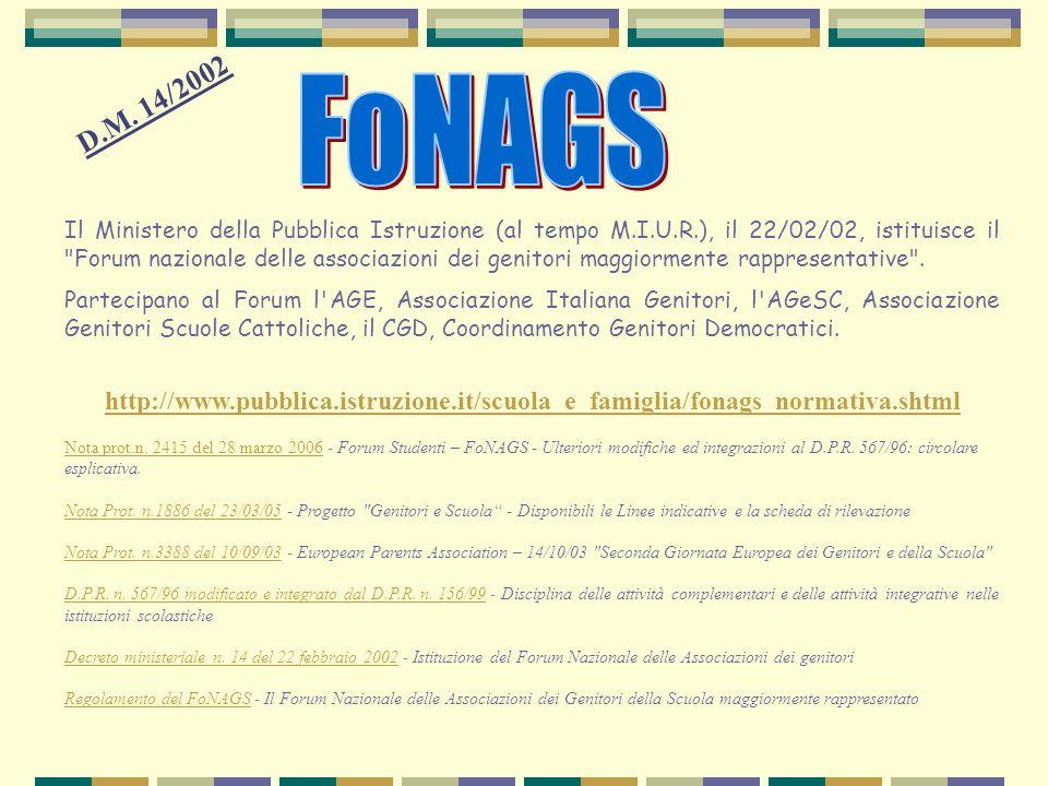 FoNAGS D.M. 14/2002.