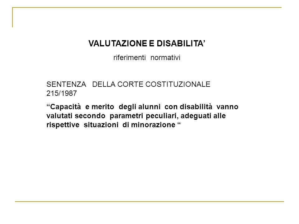 VALUTAZIONE E DISABILITA'