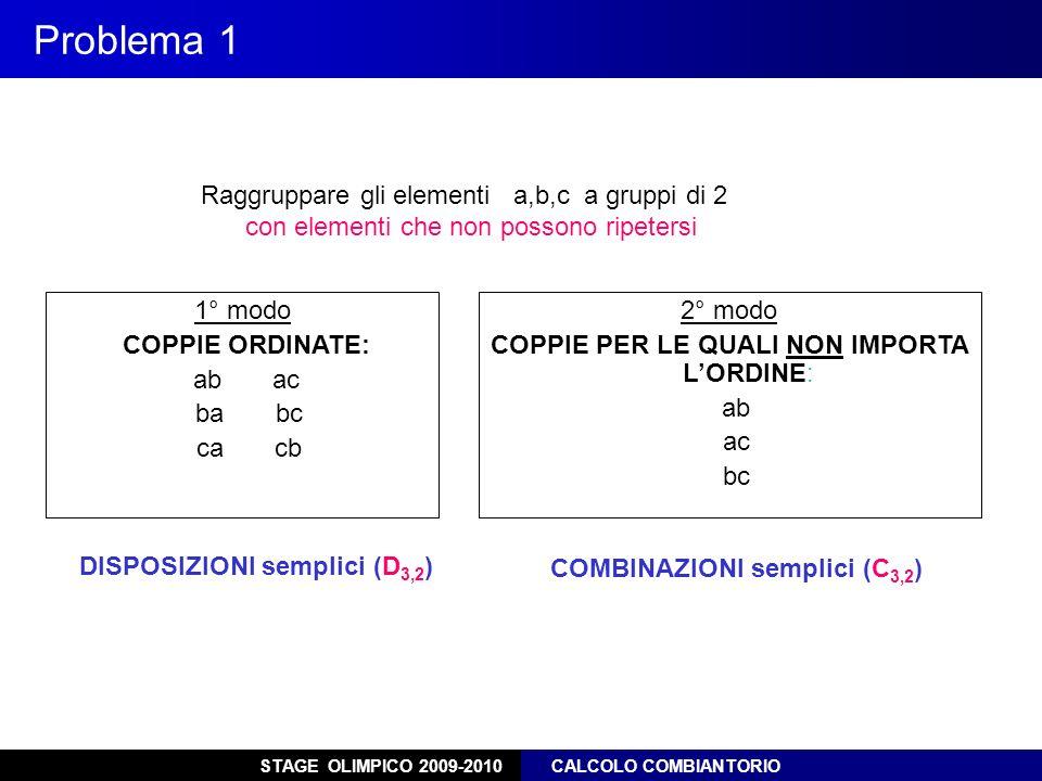 DISPOSIZIONI semplici (D3,2) COMBINAZIONI semplici (C3,2)