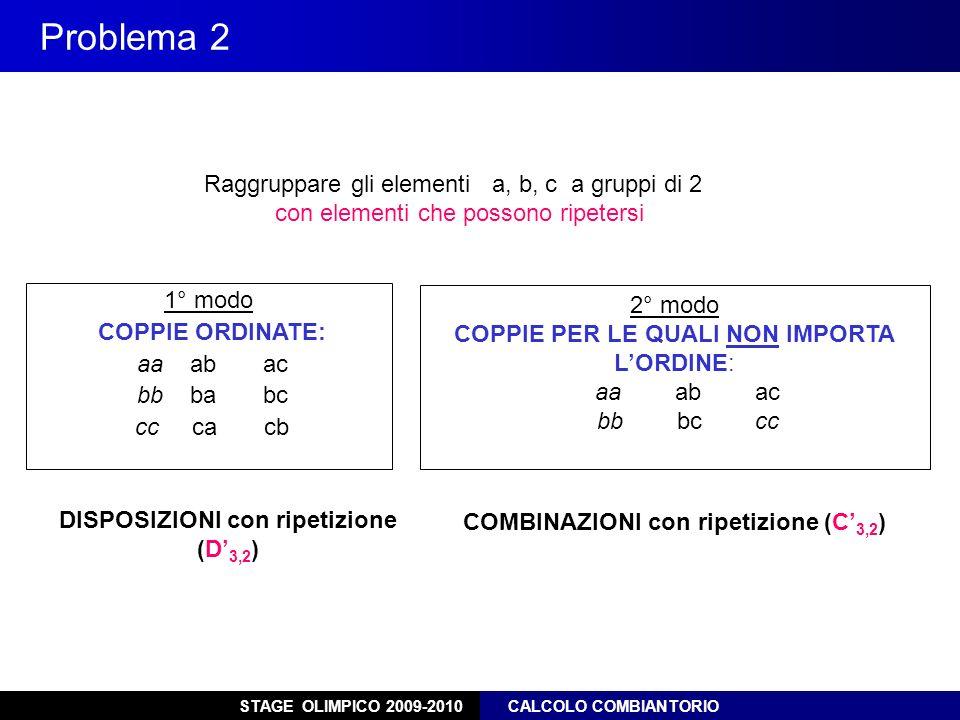 Problema 2 Raggruppare gli elementi a, b, c a gruppi di 2