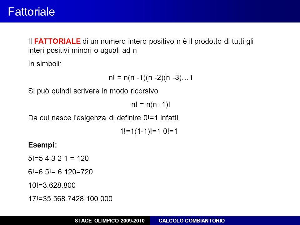 Fattoriale Il FATTORIALE di un numero intero positivo n è il prodotto di tutti gli interi positivi minori o uguali ad n.