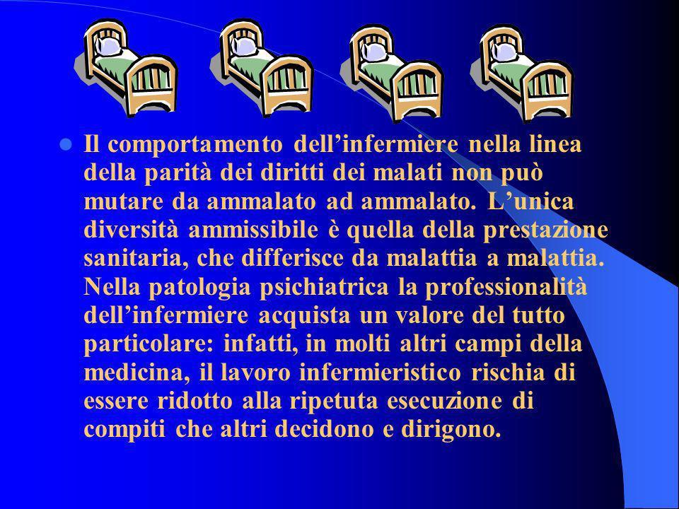 Il comportamento dell'infermiere nella linea della parità dei diritti dei malati non può mutare da ammalato ad ammalato.