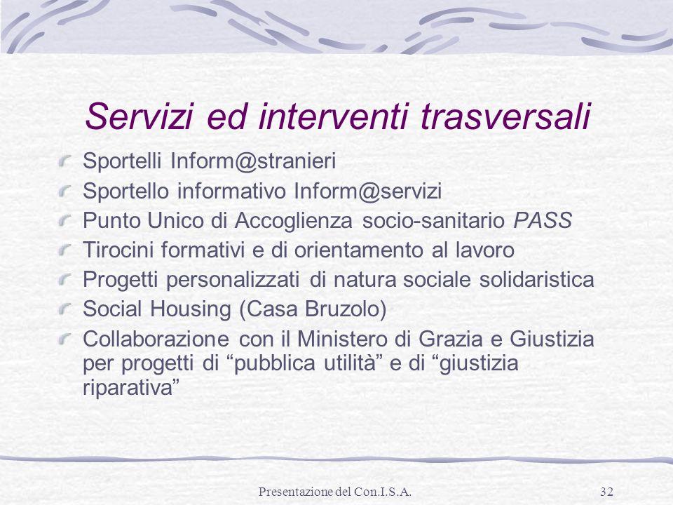 Servizi ed interventi trasversali
