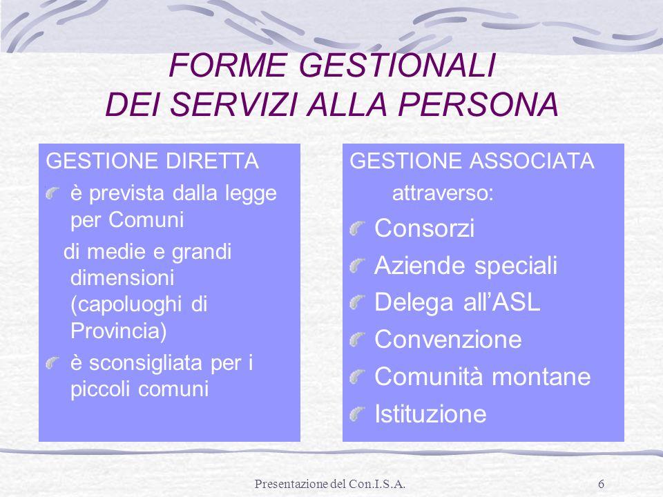FORME GESTIONALI DEI SERVIZI ALLA PERSONA