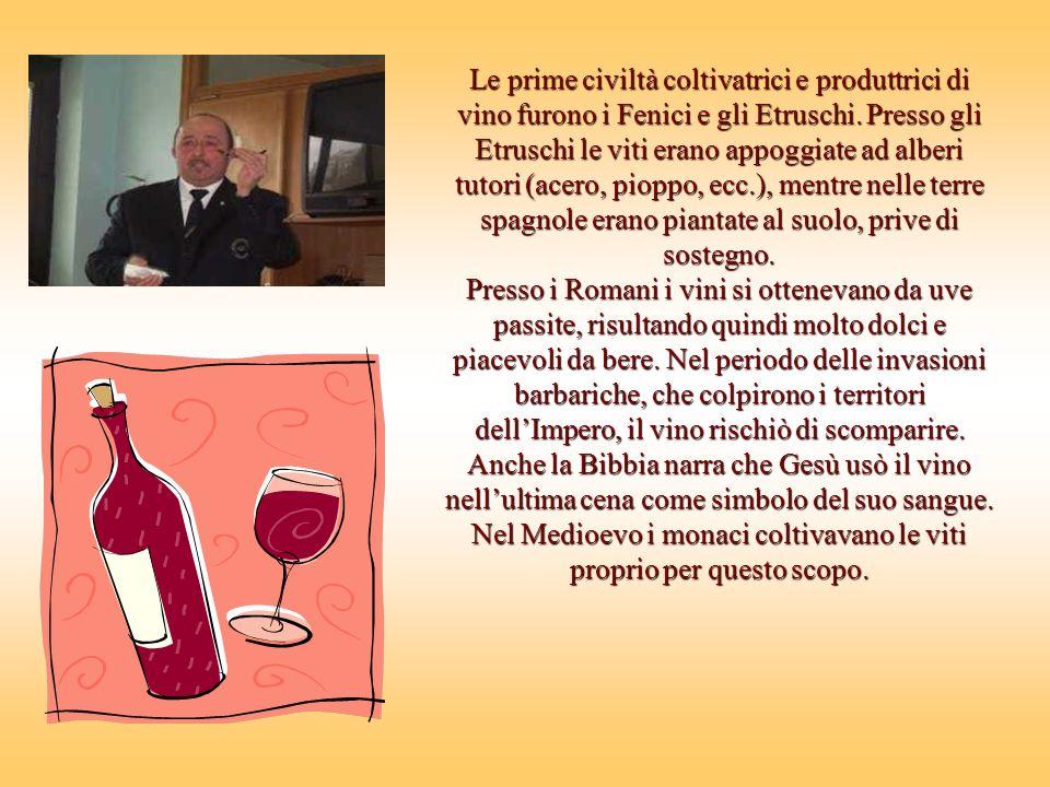 Le prime civiltà coltivatrici e produttrici di vino furono i Fenici e gli Etruschi. Presso gli Etruschi le viti erano appoggiate ad alberi tutori (acero, pioppo, ecc.), mentre nelle terre spagnole erano piantate al suolo, prive di sostegno.