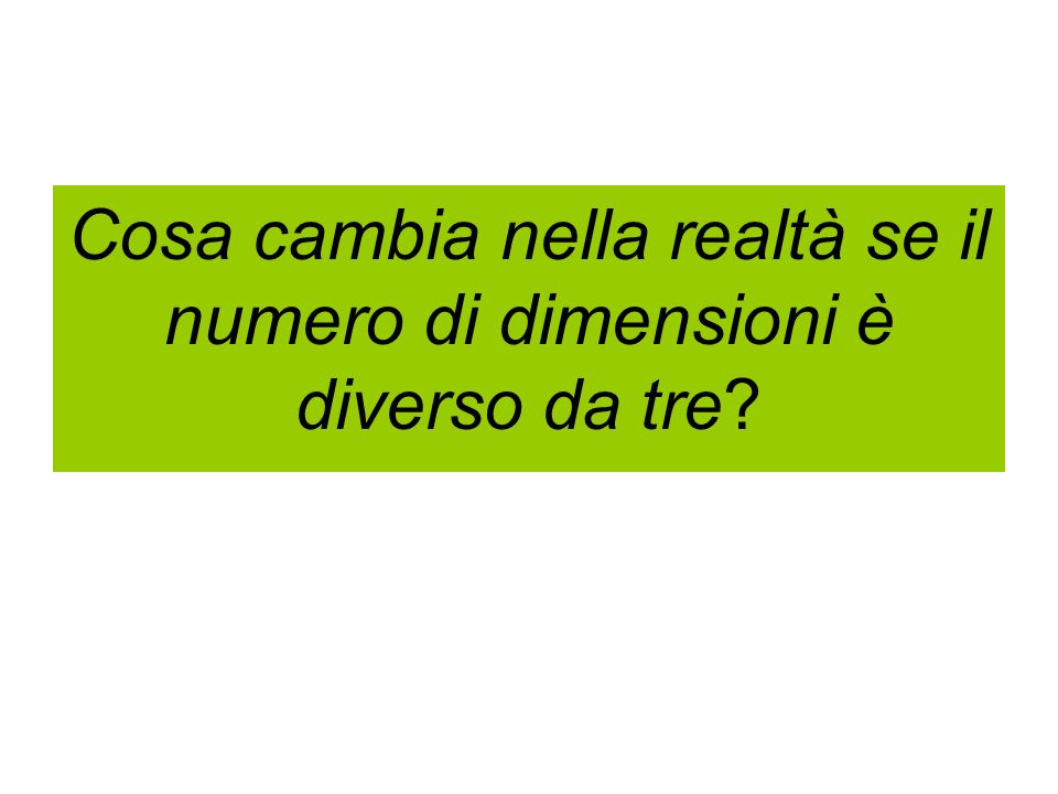 Cosa cambia nella realtà se il numero di dimensioni è diverso da tre