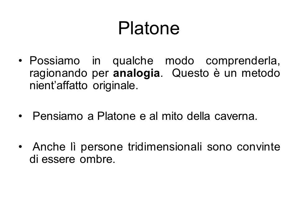 PlatonePossiamo in qualche modo comprenderla, ragionando per analogia. Questo è un metodo nient'affatto originale.
