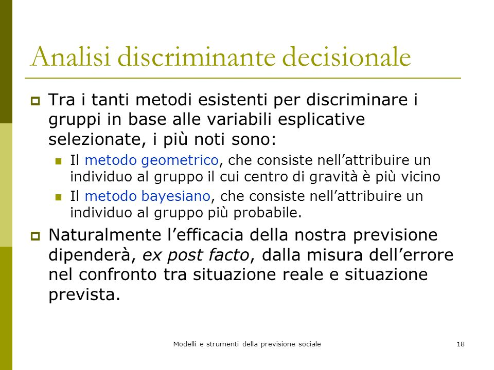 Analisi discriminante decisionale