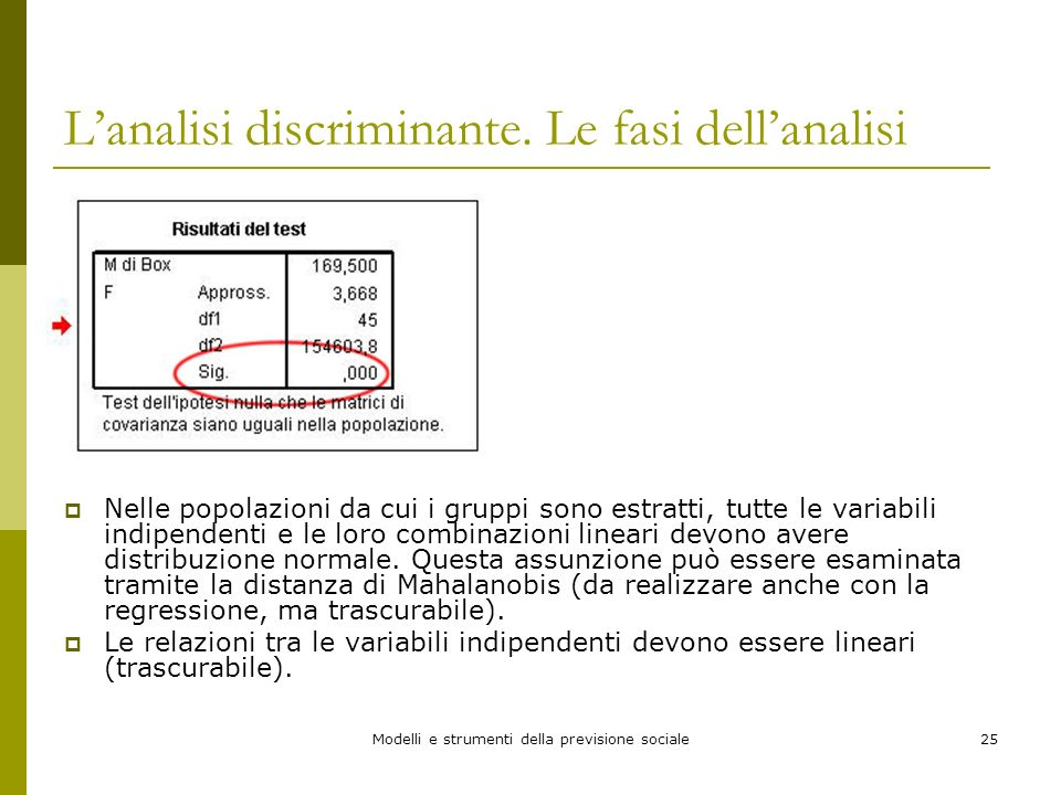 L'analisi discriminante. Le fasi dell'analisi