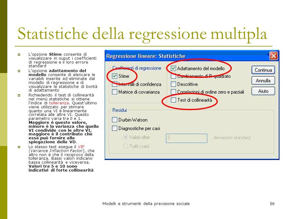 Statistiche della regressione multipla