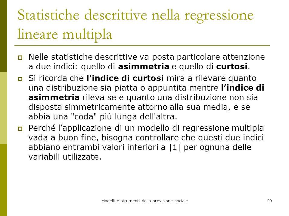 Statistiche descrittive nella regressione lineare multipla
