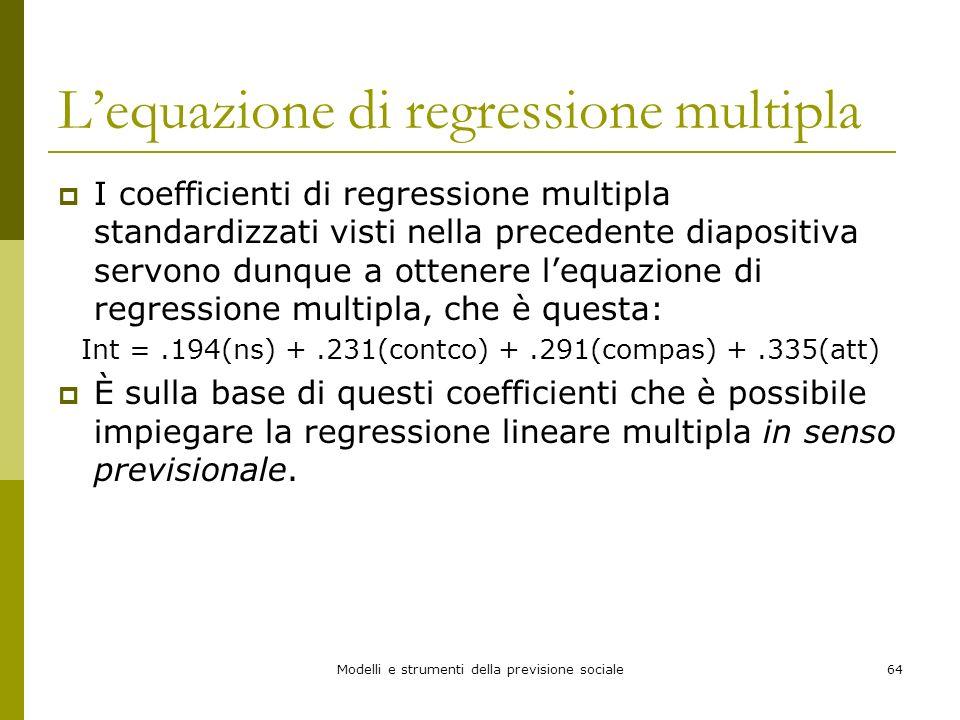 L'equazione di regressione multipla