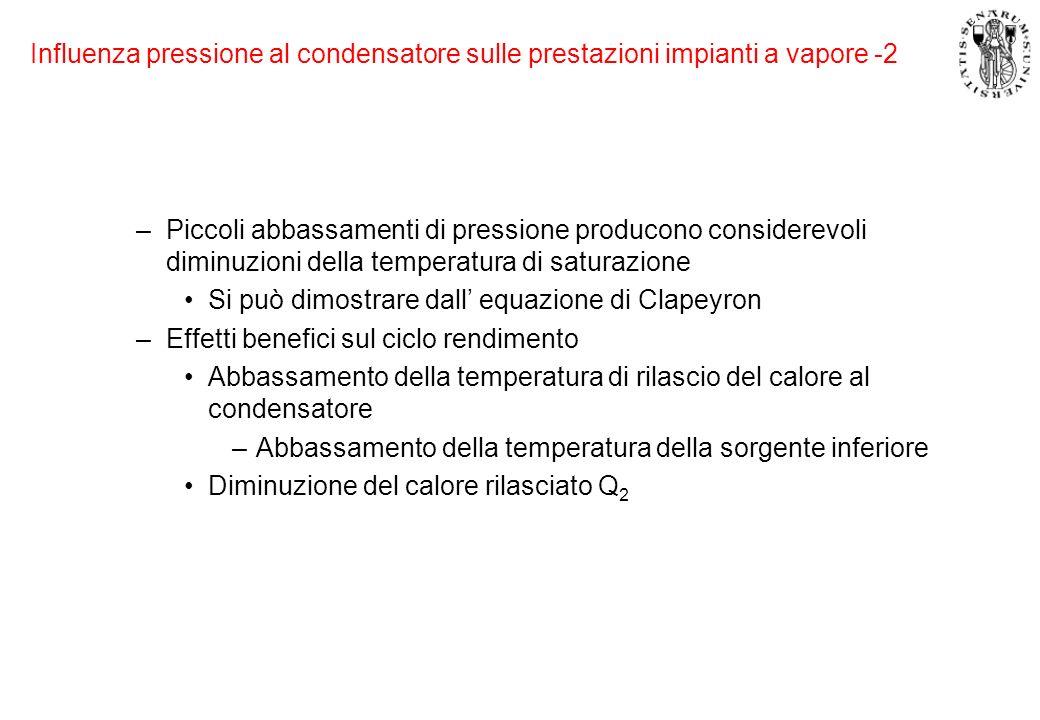 Influenza pressione al condensatore sulle prestazioni impianti a vapore -2