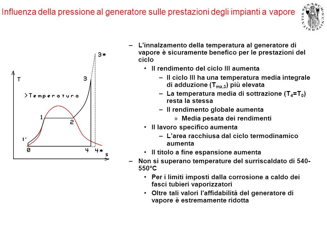 Influenza della pressione al generatore sulle prestazioni degli impianti a vapore
