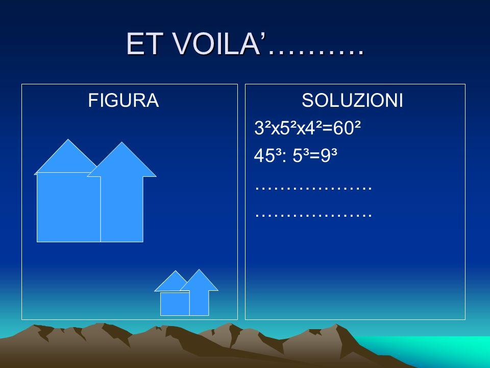 ET VOILA'………. FIGURA SOLUZIONI 3²x5²x4²=60² 45³: 5³=9³ ……………….