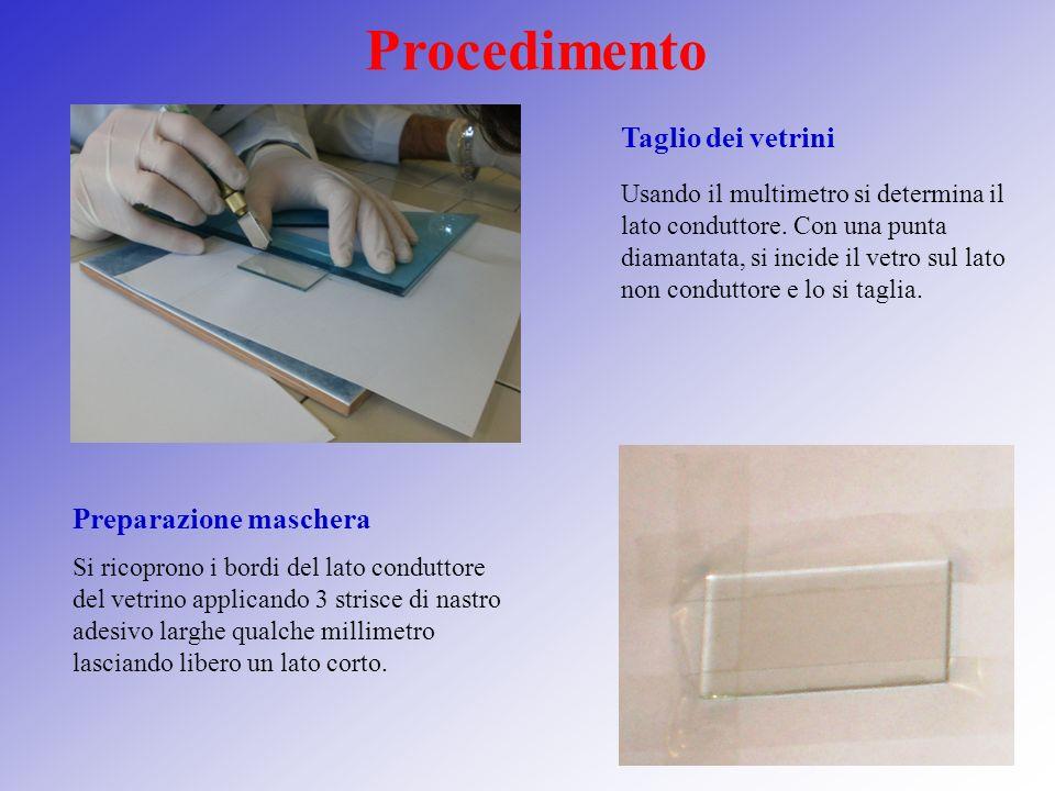 Procedimento Taglio dei vetrini Preparazione maschera