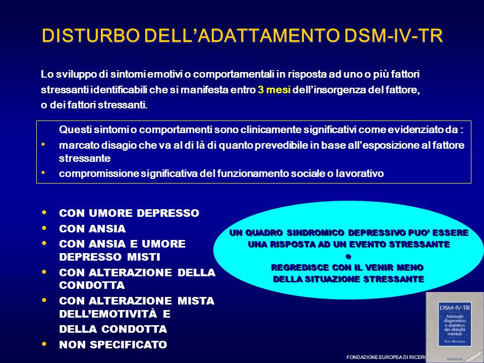 DISTURBO DELL'ADATTAMENTO DSM-IV-TR