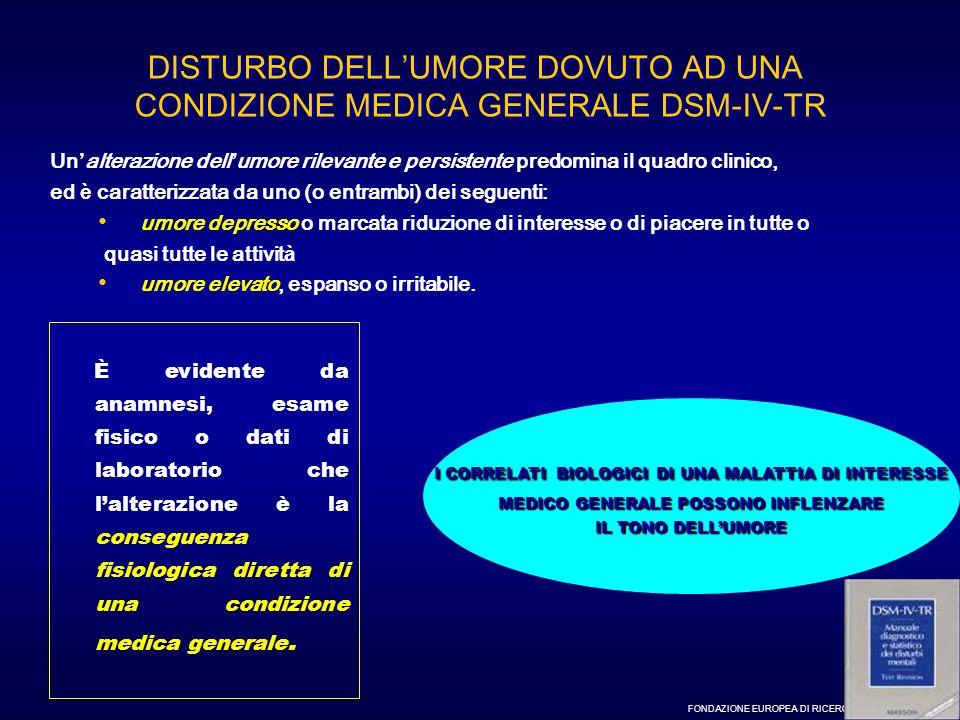 DISTURBO DELL'UMORE DOVUTO AD UNA CONDIZIONE MEDICA GENERALE DSM-IV-TR
